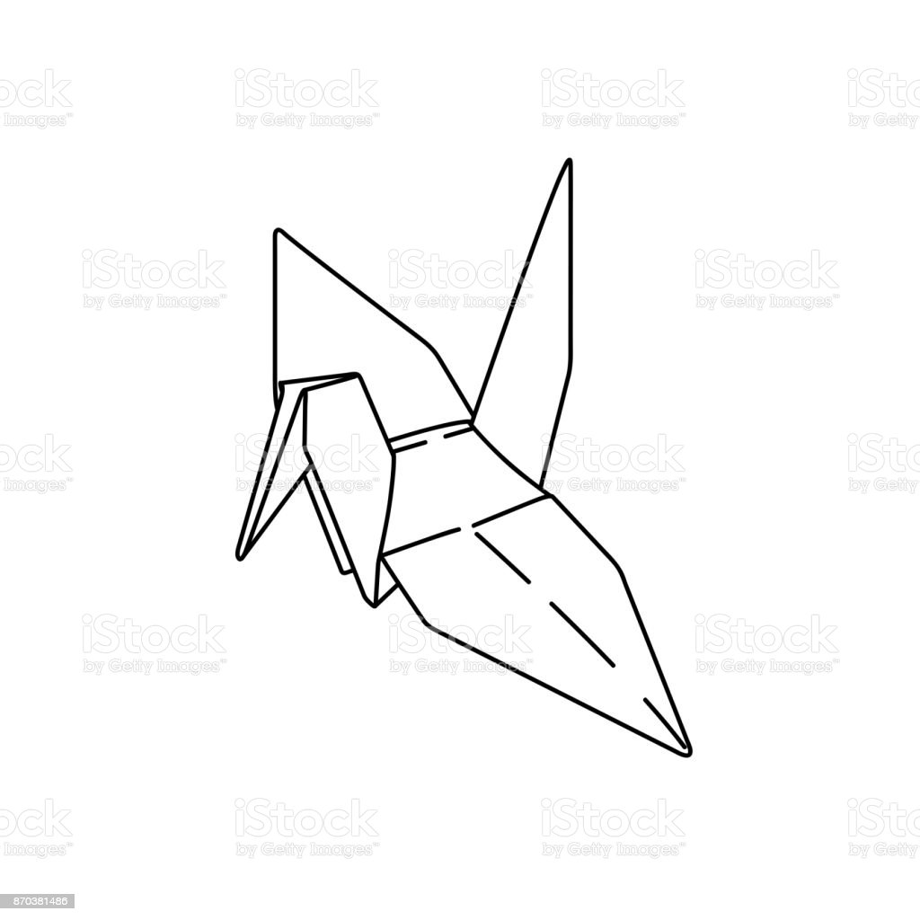 Bird Origami Paper Simple Line Illustration Vector Tattoo Design Minimal Geometric