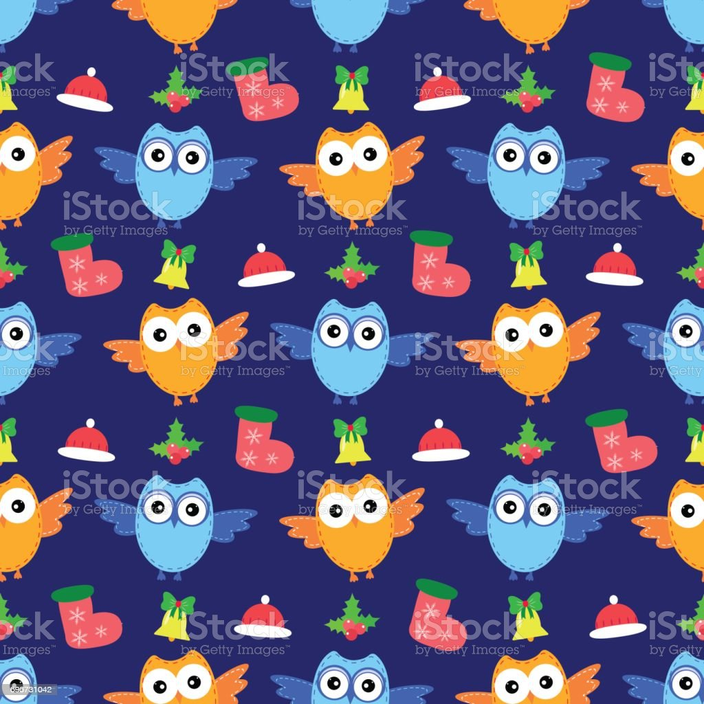 bird owl seamless new year pattern vector royalty free bird owl seamless new year pattern