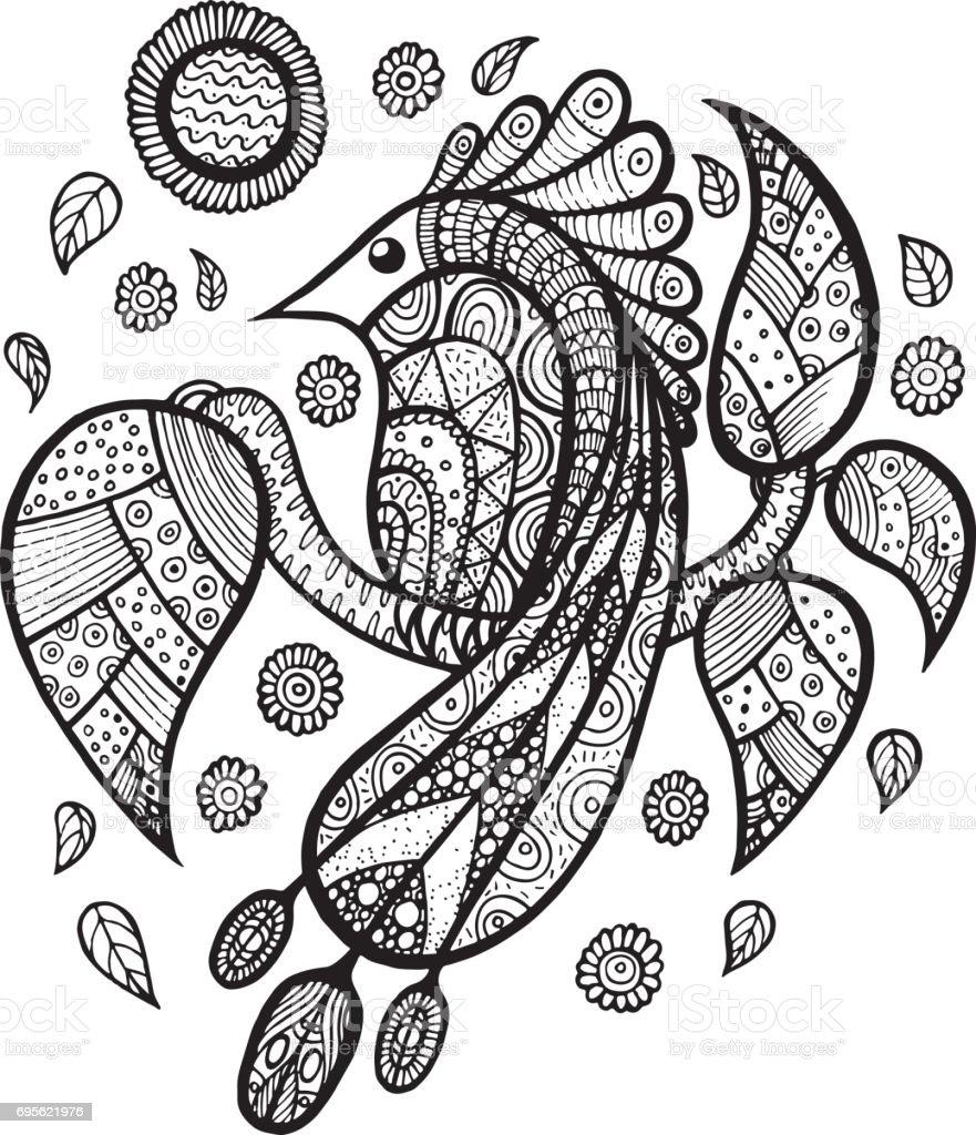 Kuş Tavuskuşu Dalı Ile Yaprak Ve çiçek Zen Doodle Boyama Sayfası