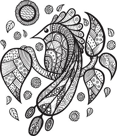 Kus Tavuskusu Dali Ile Yaprak Ve Cicek Zen Doodle Boyama Sayfasi
