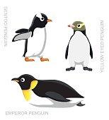 Bird Penguin Set Cartoon Vector Illustration