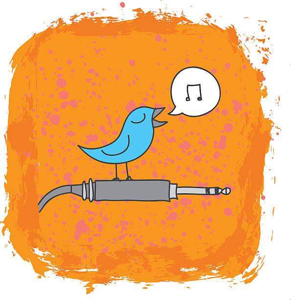 bildbanksillustrationer, clip art samt tecknat material och ikoner med bird perched on audio cord - happy indie pop