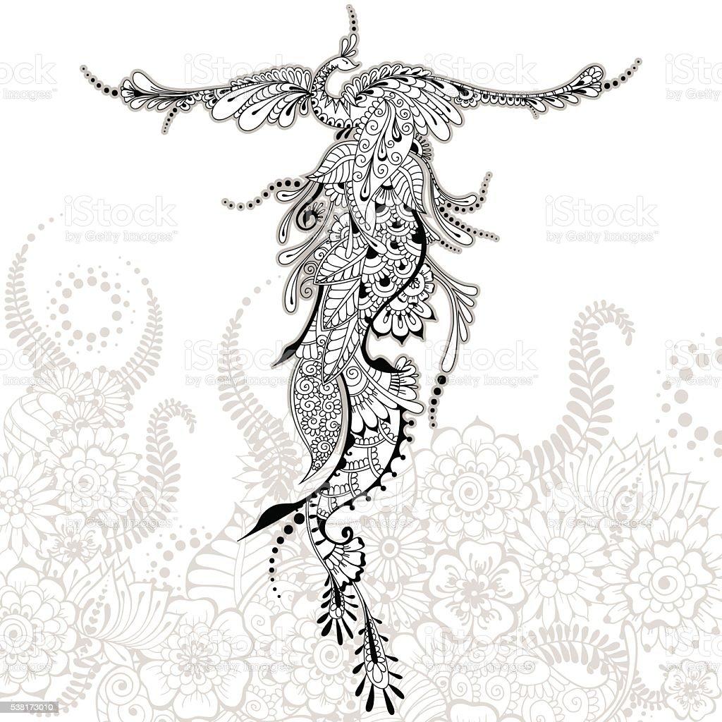 Pájaro Phoenix tatuaje - ilustración de arte vectorial
