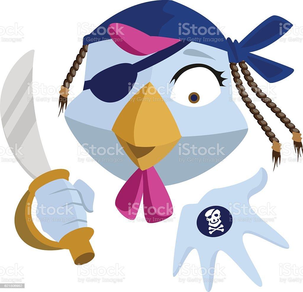 Bird Pirate with saber shows black mark. Blue Rooster head Lizenzfreies bird pirate with saber shows black mark blue rooster head stock vektor art und mehr bilder von blau