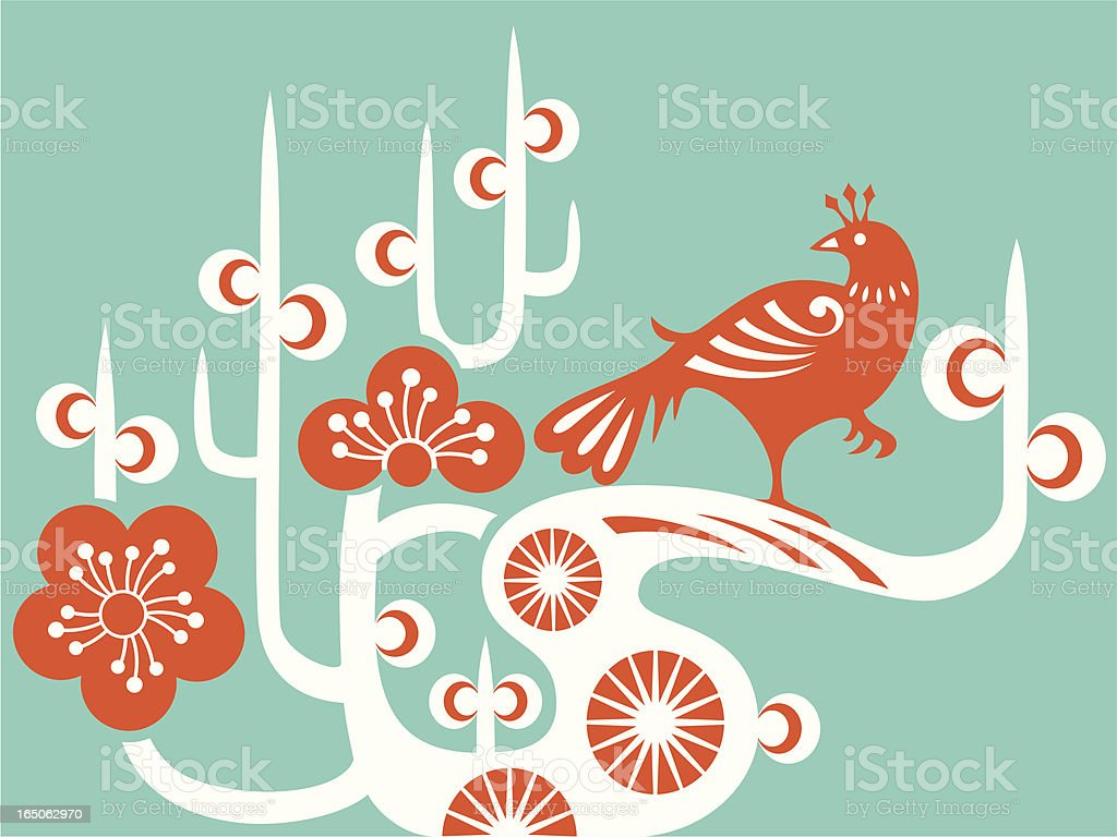 Bird & Plum Blossom royalty-free bird plum blossom stock vector art & more images of abstract