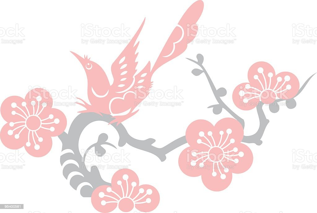 Bird & Plum Blossom (Vector) royalty-free stock vector art