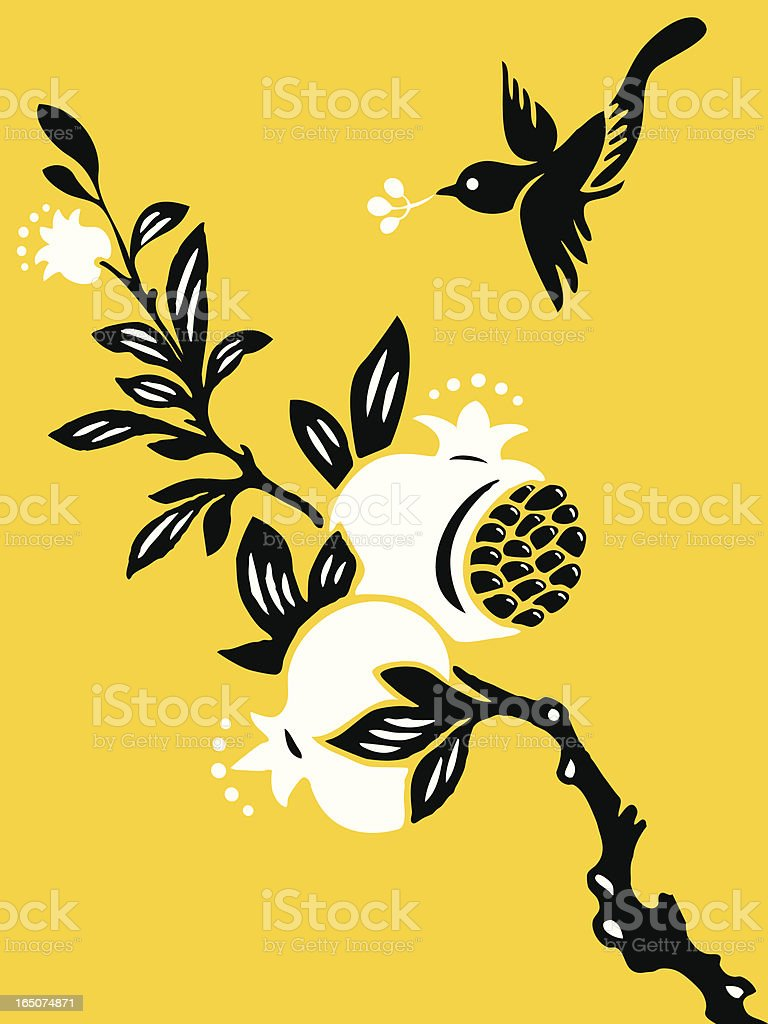 Bird & Pomegranate royalty-free bird pomegranate stock vector art & more images of abstract