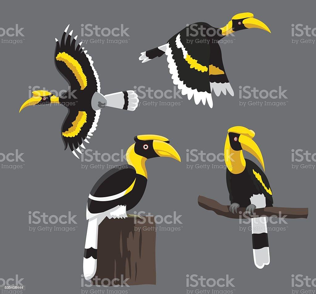 Bird Poses Great Hornbill Vector Illustration vector art illustration