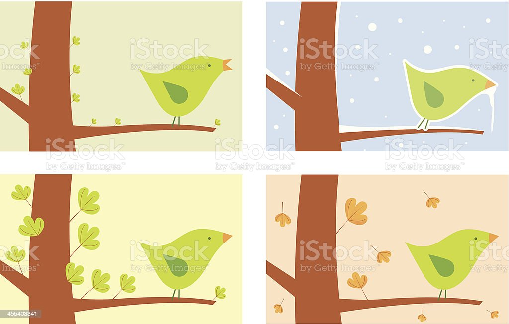 bird seasons vector art illustration