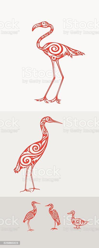 set di uccelli - illustrazione arte vettoriale