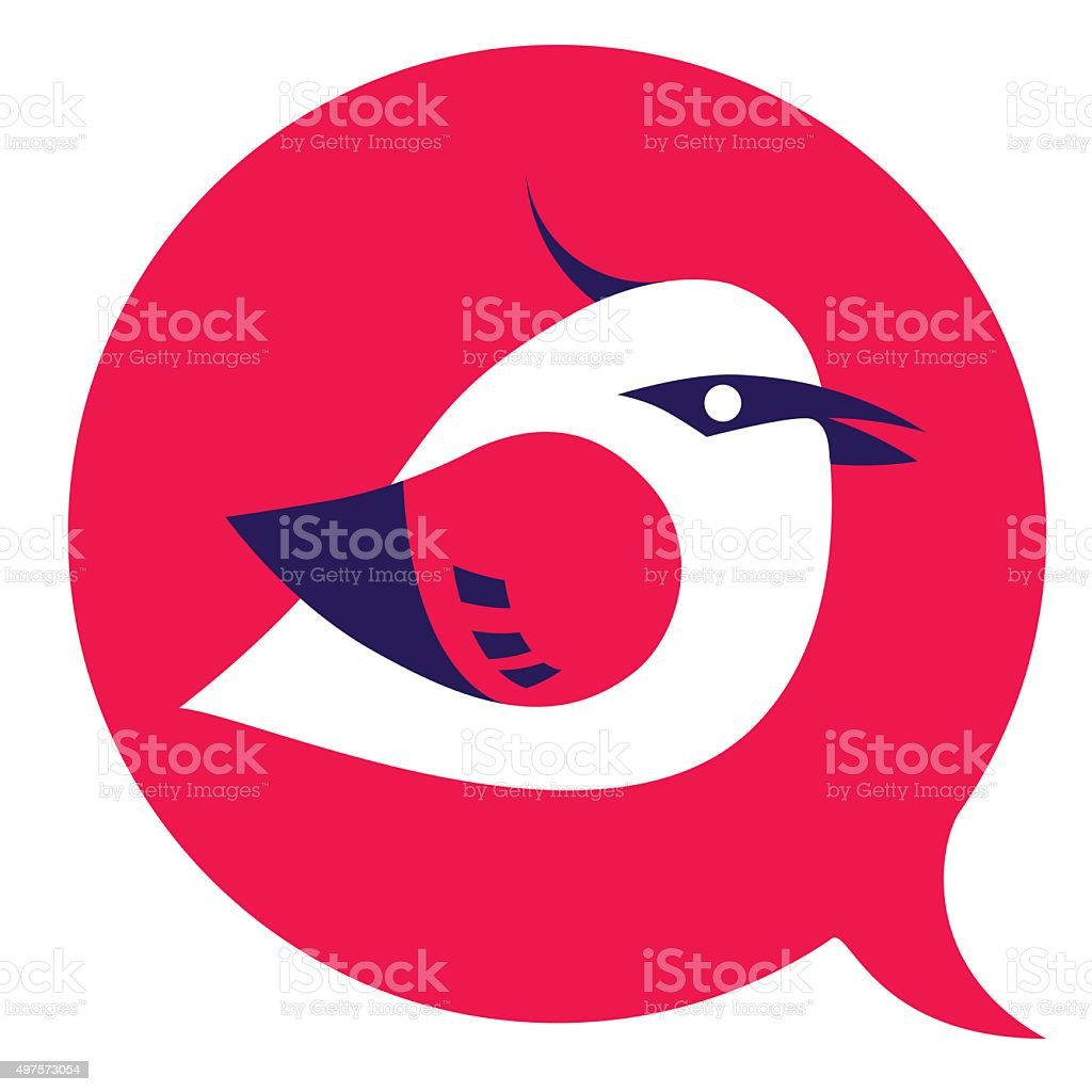 Bird sign red and violet vector art illustration