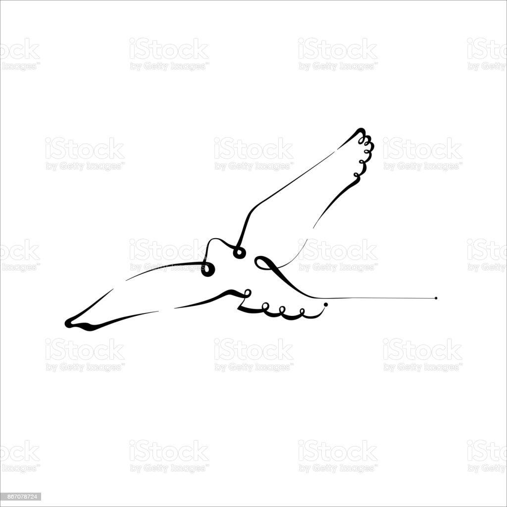 Bird Silhouette Line Calligraphy Style Vector Illustration