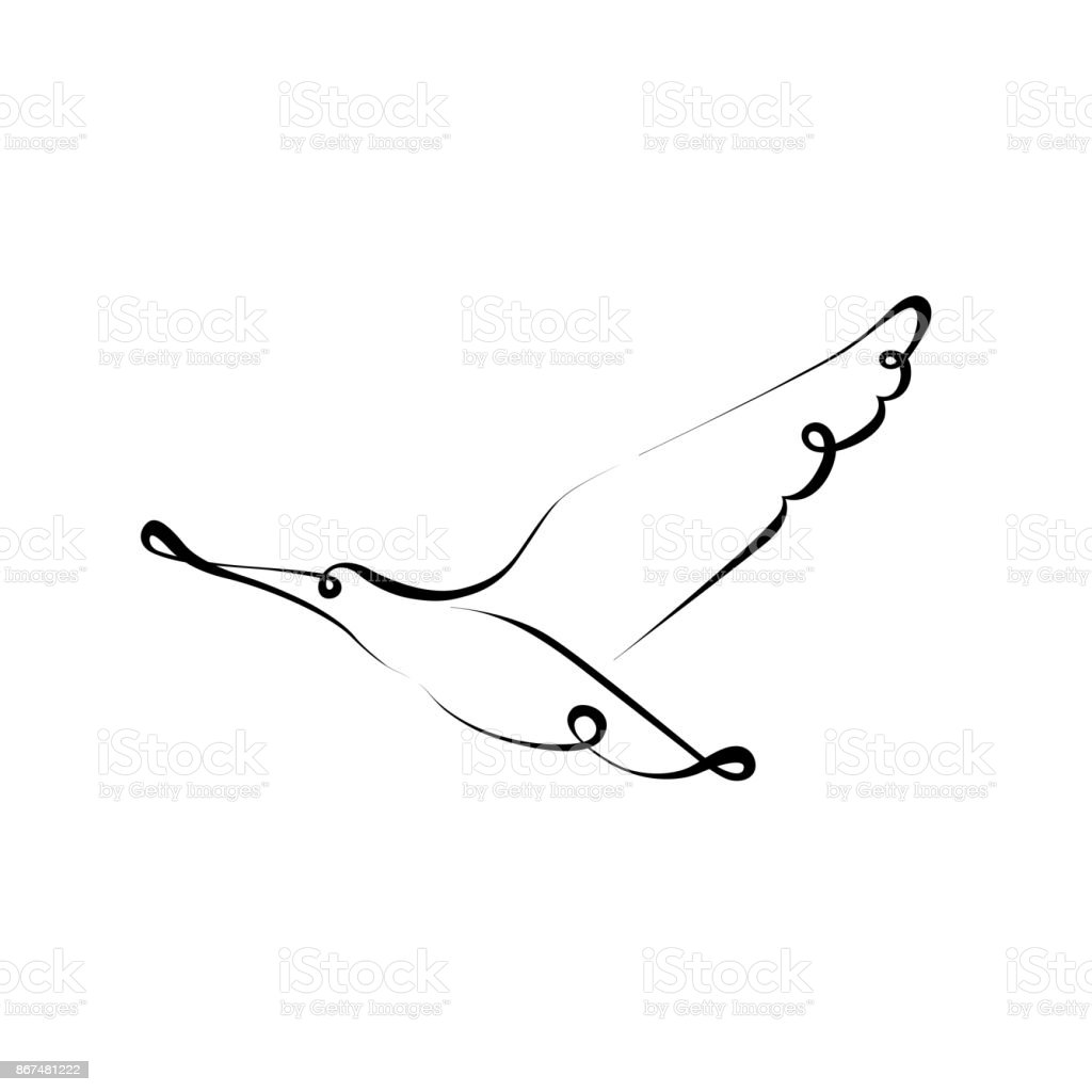 Bird Silhouette Line Calligraphy Style Vector Illustration Minimal