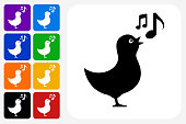 Bird Singing Icon Square Button Set. The icon is in black on a white square with rounded corners. The are eight alternative button options on the left in purple, blue, navy, green, orange, yellow, black and red colors. The icon is in white against these vibrant backgrounds. The illustration is flat and will work well both online and in print.