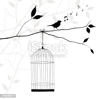 bird singing on tree branch - freedom concept