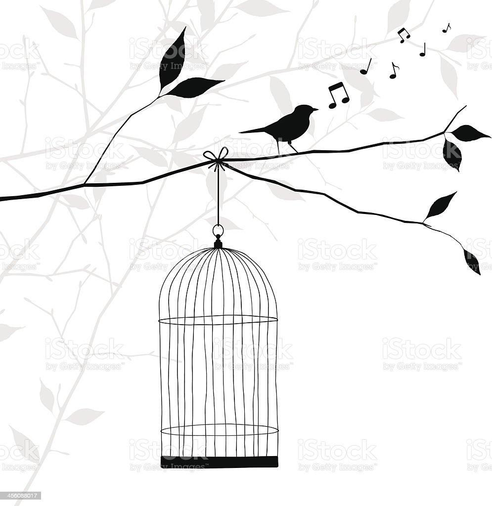bird singing on tree branch - freedom concept vector art illustration