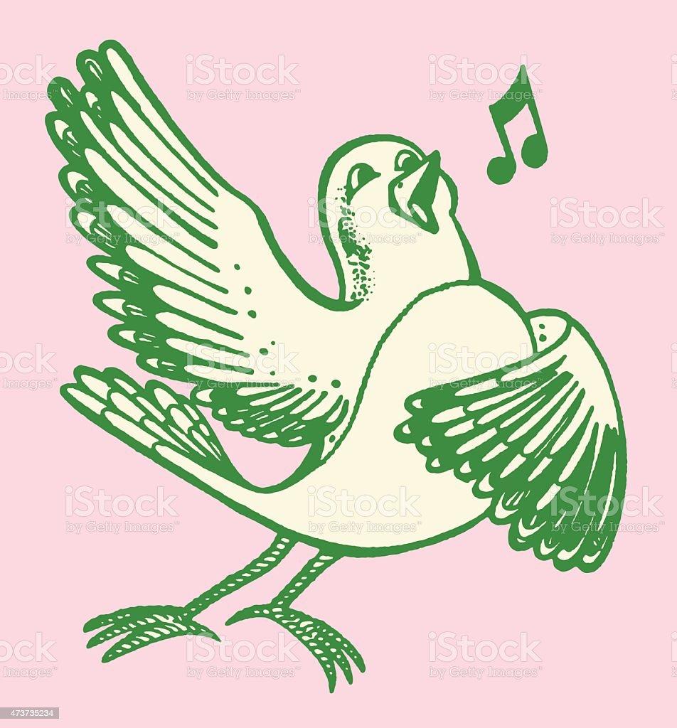 Bird Singing vector art illustration