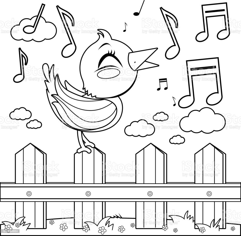 Bird Sitting On A Fence And Singing Coloring Book Page Royalty Free
