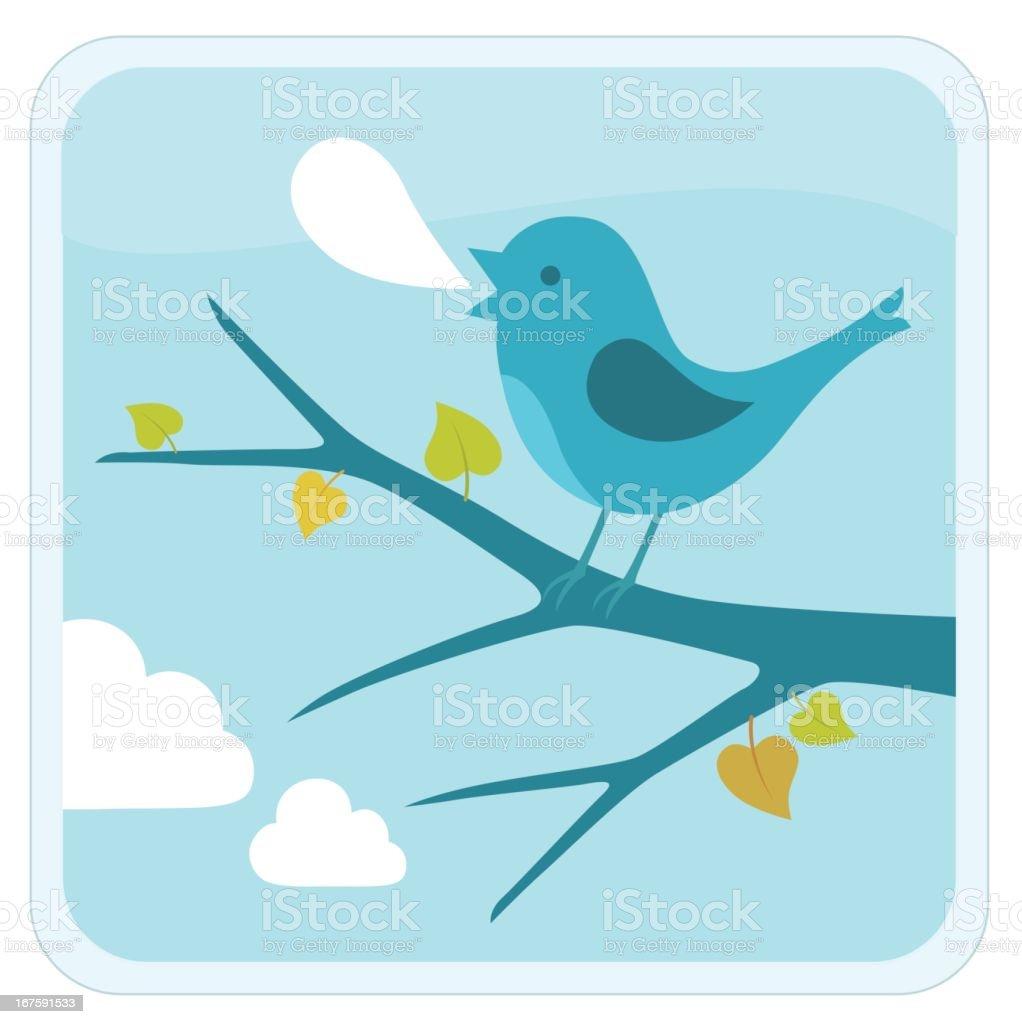 bird sitting on the branch vector art illustration