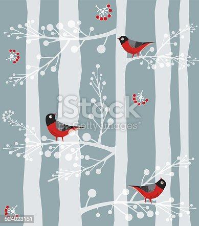istock Bird  Sitting on the tree, Forest, Winter 524023151