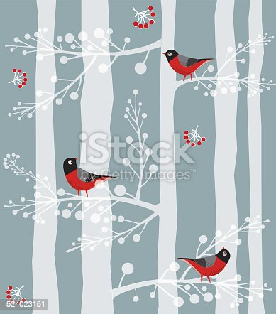 istock Bird  Sitting on the tree, Forest, Winter 524023151