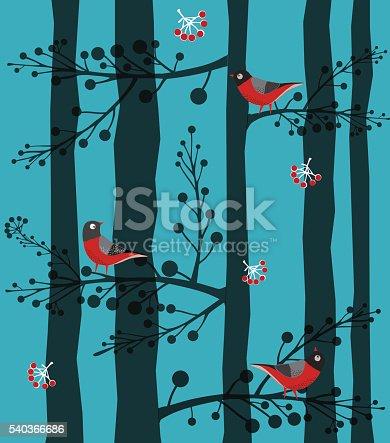 istock Bird  Sitting on the Tree, Forest, Winter 540366686
