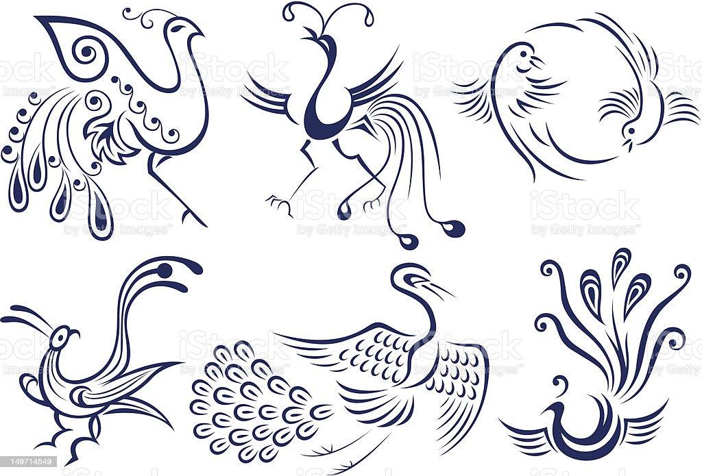 bird tattoo symbol design vector art illustration