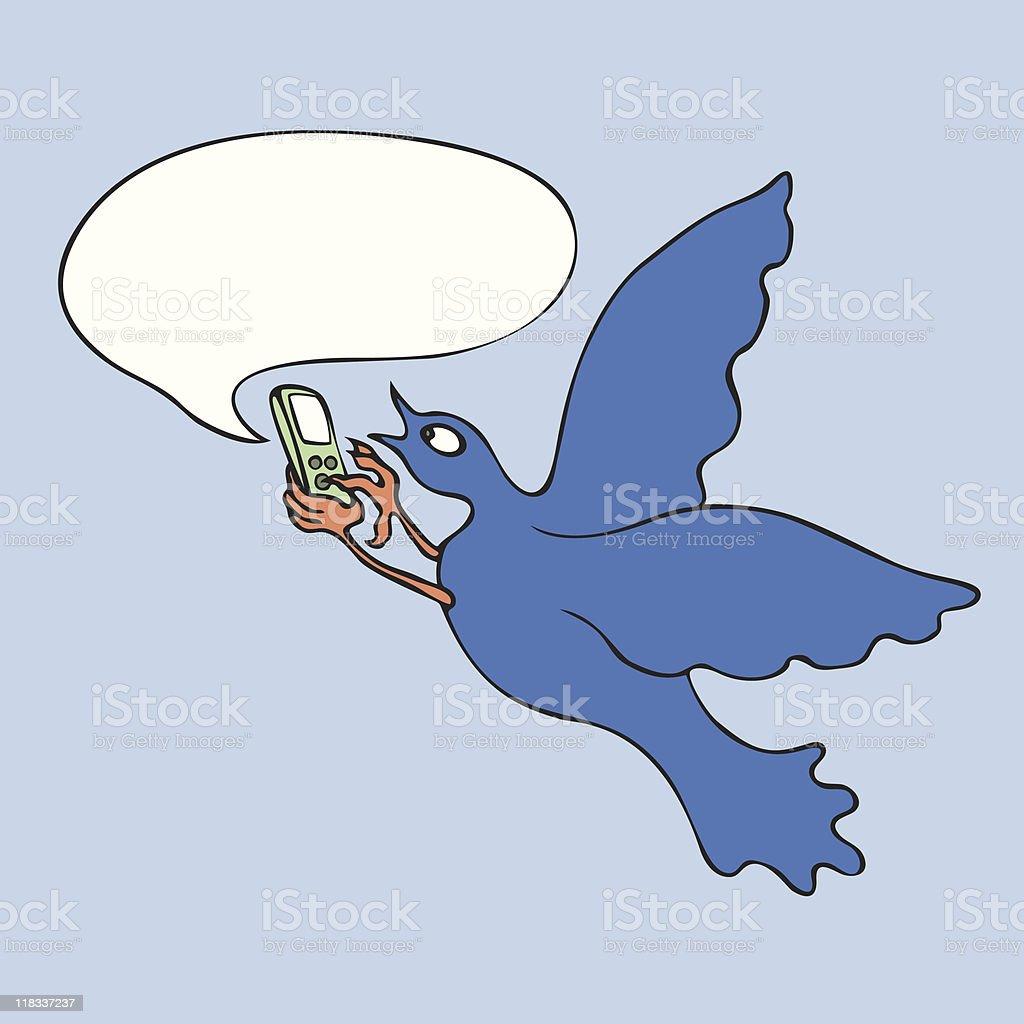 Bird Text Messaging royalty-free stock vector art