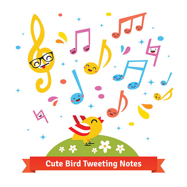 Bird tweeting and singing cartoon musical notes Cute bird tweeting and singing happy cartoon musical notes standing on a green meadow. Flat vector illustration isolated on white background. animal call stock illustrations