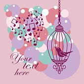 vector valentine card with bird singind a song
