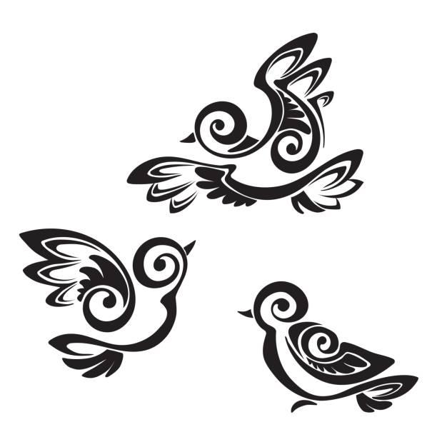 ilustrações, clipart, desenhos animados e ícones de pássaro - fontes de tatuagem