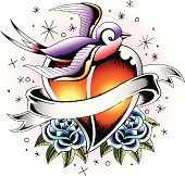 bird with heart tattoo