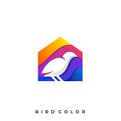Bird With House Illustration Vector Template. Suitable for Creative Industry, Multimedia, entertainment, Educations, Shop, and any related business.