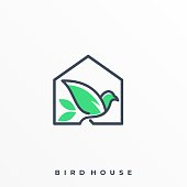 Bird With House Line Art Illustration Vector Template. Suitable for Creative Industry, Multimedia, entertainment, Educations, Shop, and any related business.
