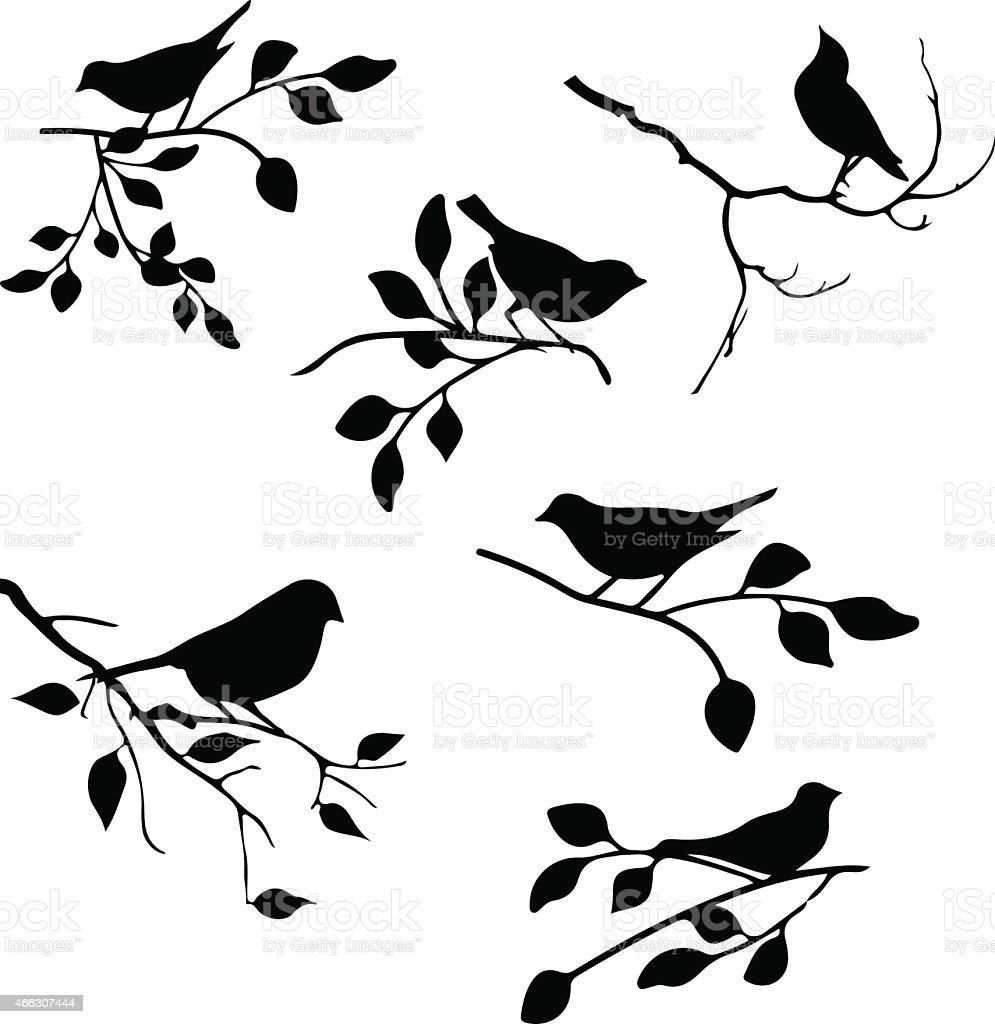 bird with leaf element vector art illustration