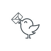 bird with love letter icon, vector illustration. EPS 10.
