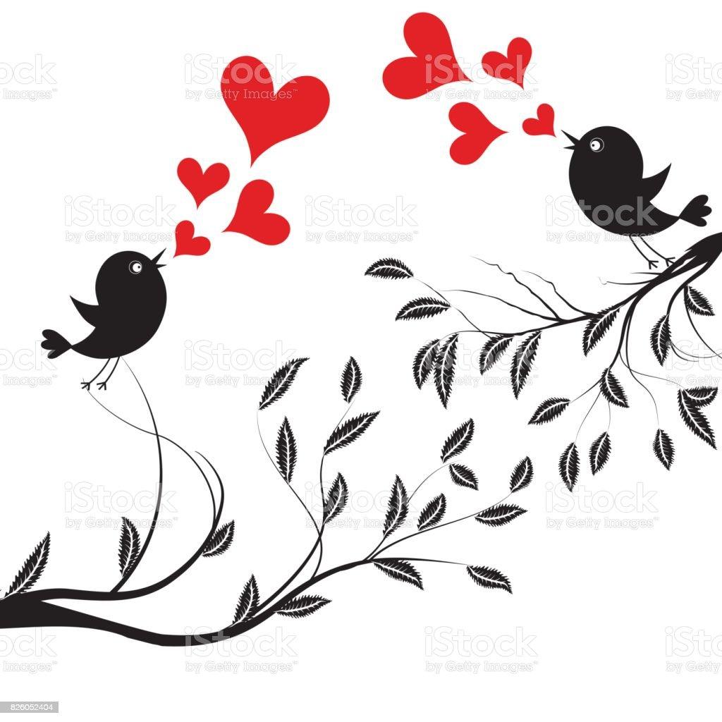 Ilustración de Pájaro Con Amor Ilustración De Vector De Un Aves De ...