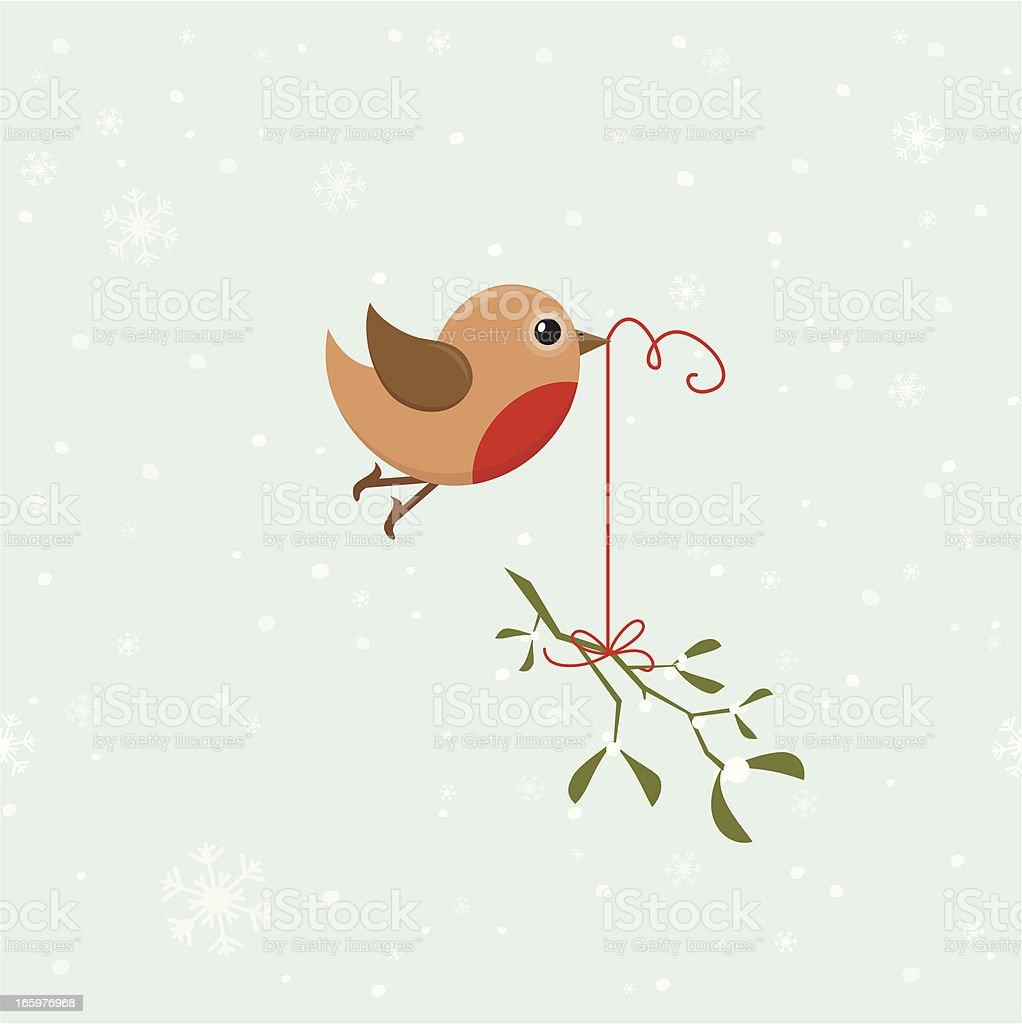 Bird with mistletoe vector art illustration