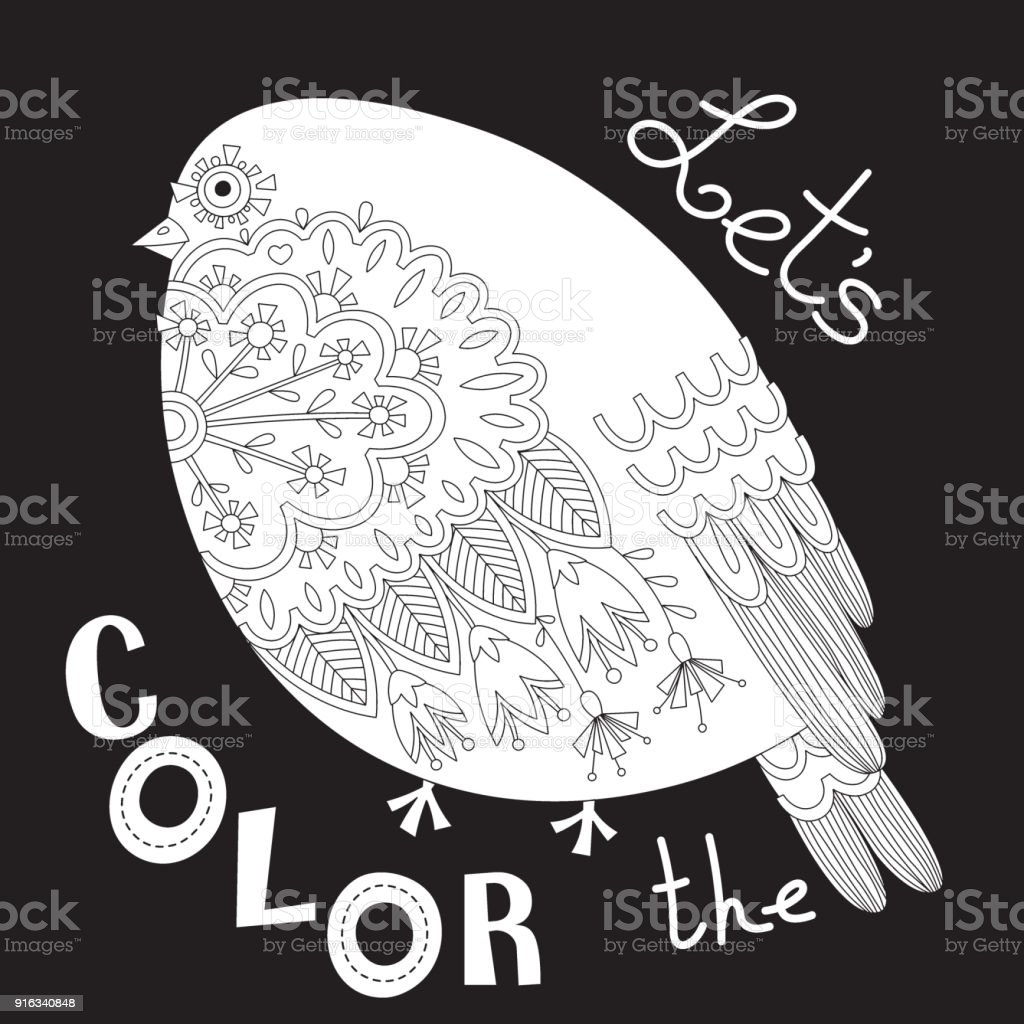 Bird With Patterns And Flowers Coloring Book Page Vector Illustration Royalty Free