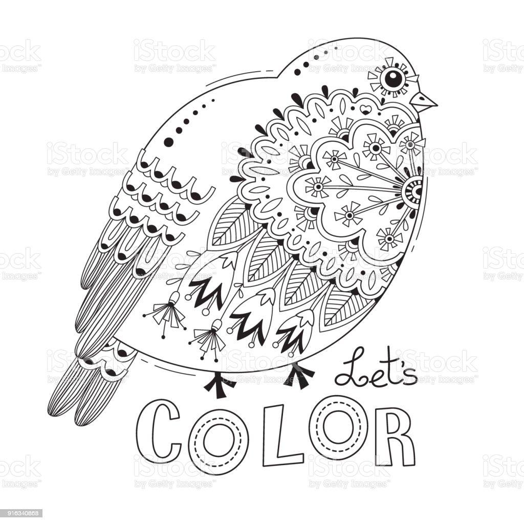 Ilustración de Pájaro Con Flores Y Patrones Página De Libro Para ...