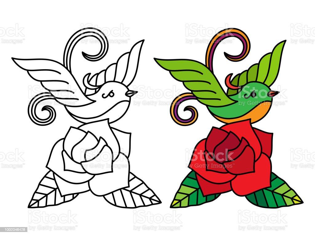 Ilustración de Pájaro Con Página Para Colorear De Rosa y más banco ...