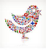 Bird with World Flag Buttons