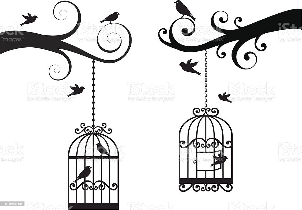 birdcage and birds, vector vector art illustration