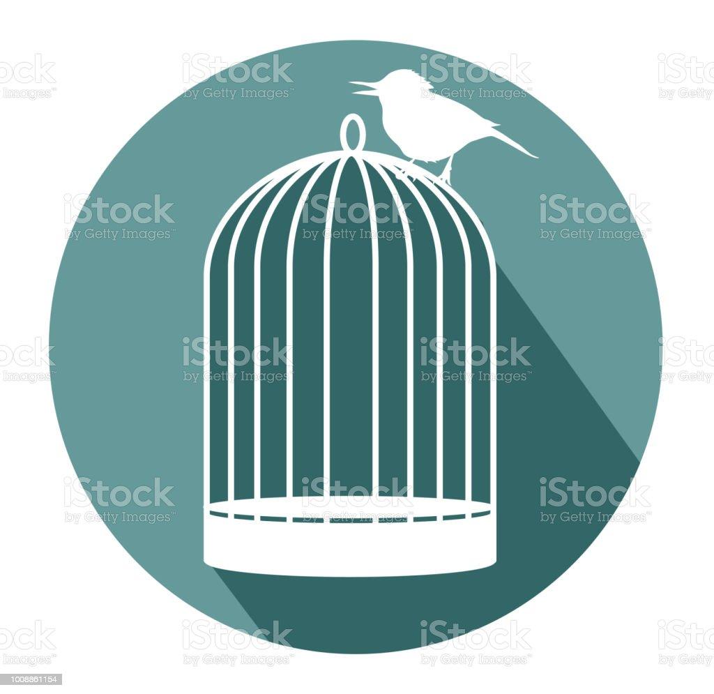 Birdcage flat design icon vector art illustration