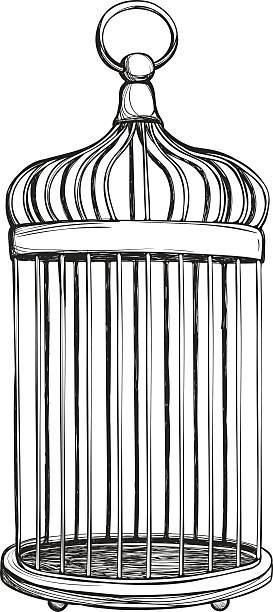 illustrations, cliparts, dessins animés et icônes de cage à oiseaux seul sur fond blanc - dessin cage a oiseaux