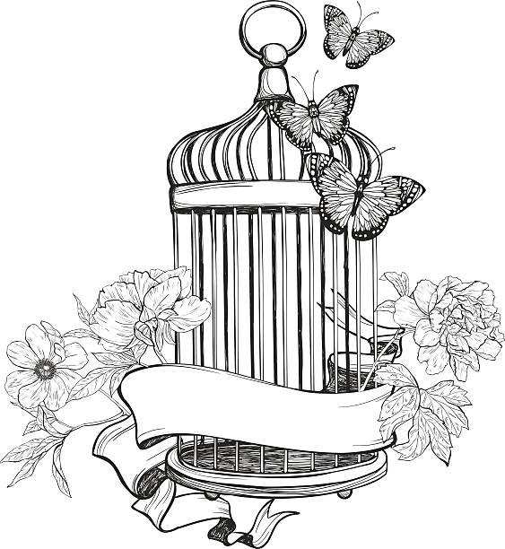illustrations, cliparts, dessins animés et icônes de desservis par un ruban cage à oiseaux, des fleurs et des papillons - dessin cage a oiseaux