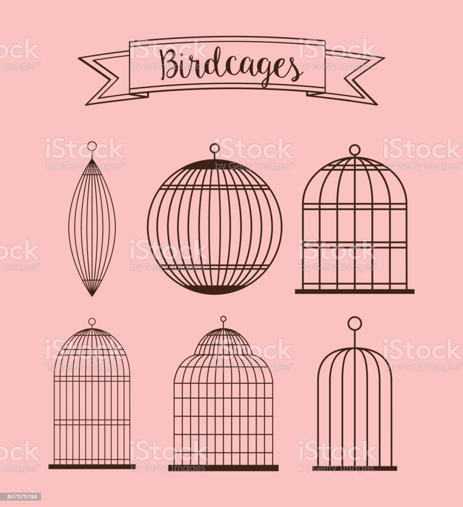 Birdcages icon. Decoration object. vintage concept, vector graph vector art illustration