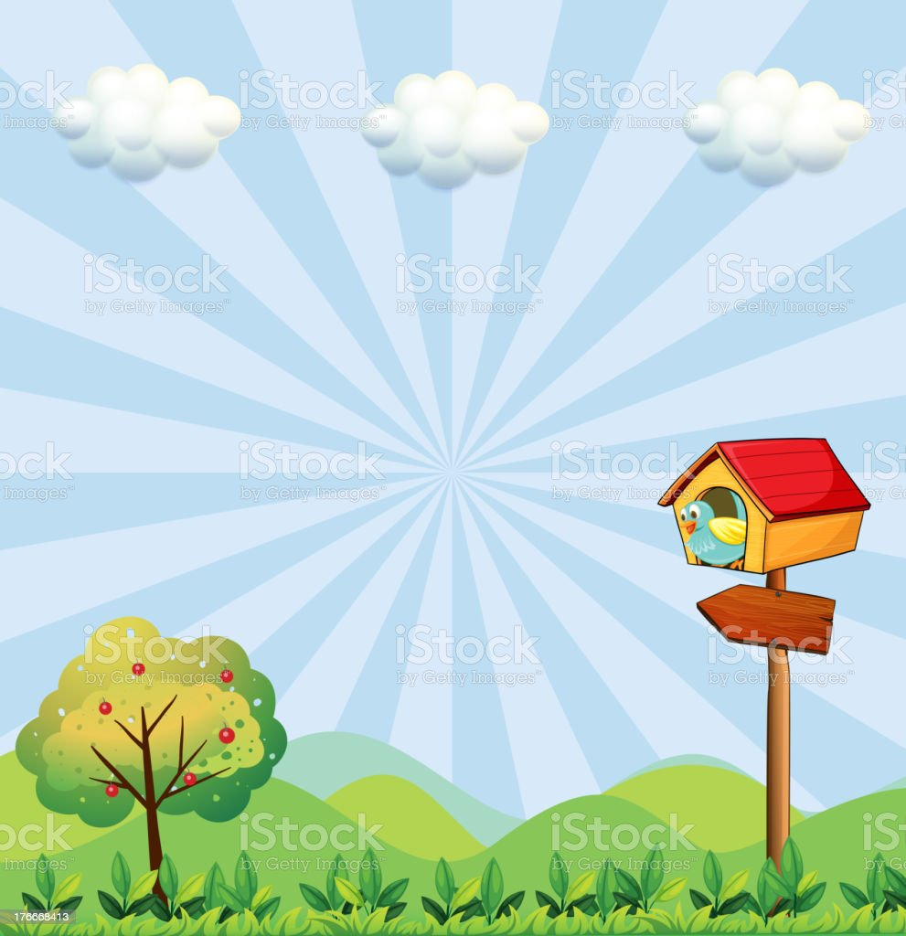 birdhouse at the hilltop with an arrowboard royalty-free birdhouse at the hilltop with an arrowboard stock vector art & more images of illustration