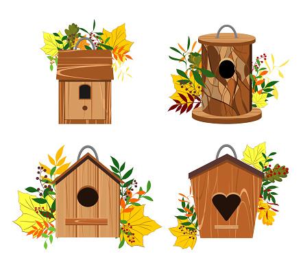 Birdhouse, feeder. Vector illustration set.
