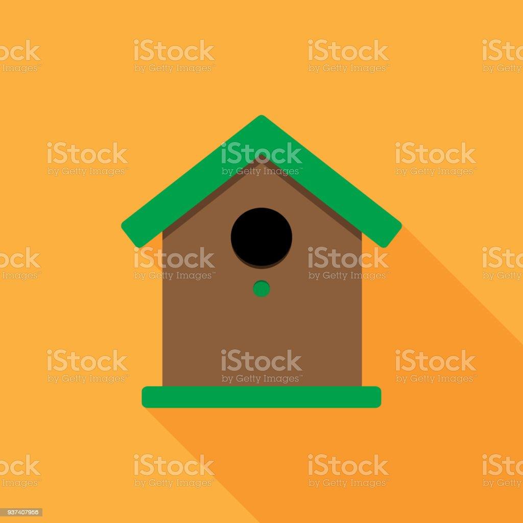 Birdhouse flat vector illustration with long shadow vector art illustration